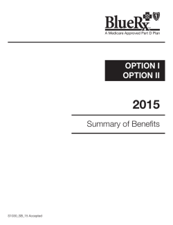 OPTION I OPTION II Summary of Benefits - BCBST