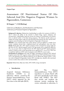 Assessment Of Nutritionnal Status Of Hiv Infected And Hiv Negative Pregnant Women In Ngaoundere, Cameroon