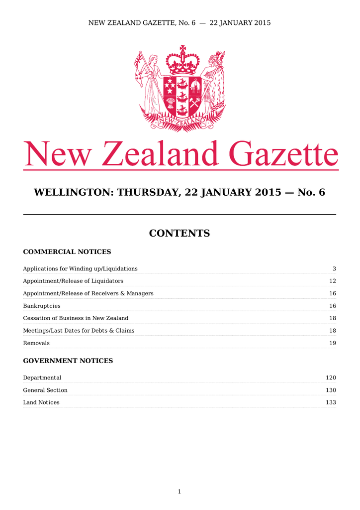 PDF (739 KB) - New Zealand Gazette