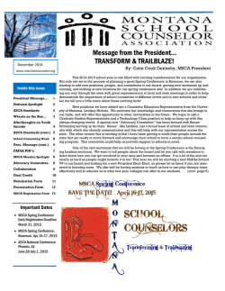 WINTER 2015 Newsletter - Montana School Counselor Association