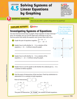 4.5 Solving Systems of Linear Equations by Graphing