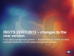 ISO/TS 22003:2013 – changes to the new version