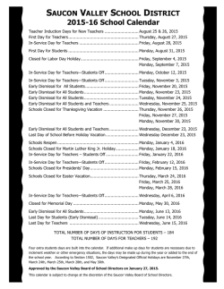 the 2015-16 School Calendar - Saucon Valley School District