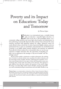 Poverty and its Impact on Education: Today and Tomorrow