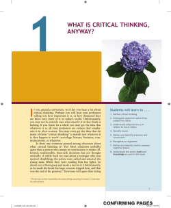 1 WHAT IS CRITICAL THINKING, ANYWAY?