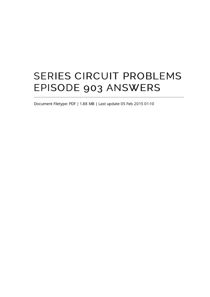 Series Circuit Problems Episode 903 Answers