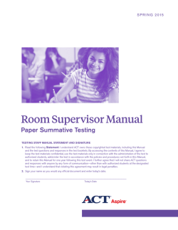 Room Supervisor Manual - ACT Aspire Landing Page