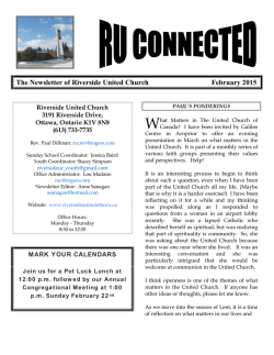Pre-Lent Newsletter - Riverside United Church