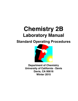 CHE 2B Lab Manual - UC Davis Department of Chemistry