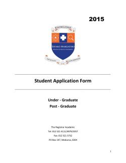 Student Application Form - Sefako Makgatho Health Sciences