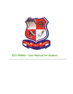 GTU PMMS – User Manual for Student