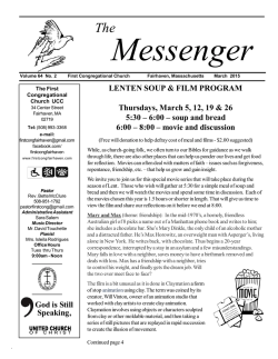 our most recent newsletter, The Messenger.