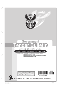 Tender Bulletin 2856 - South African Government