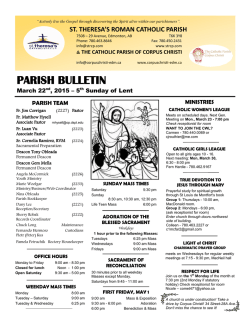 03D-BULLETIN March 22 2015NF - St. Theresa`s Roman Catholic