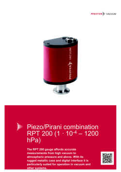 Piezo/Pirani combination RPT 200 (1 �� 10-4