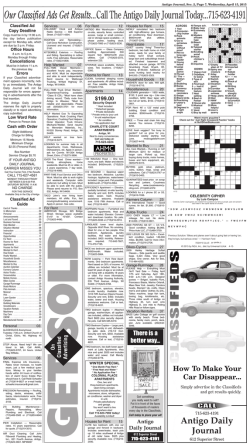 Our Classified Ads Get Results...Call The Antigo Daily Journal