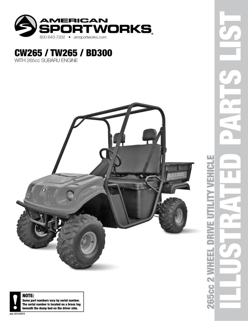 CW265 / TW265 / BD300 265cc 2 WHEEL DRIVE UTILITY VEHICLE