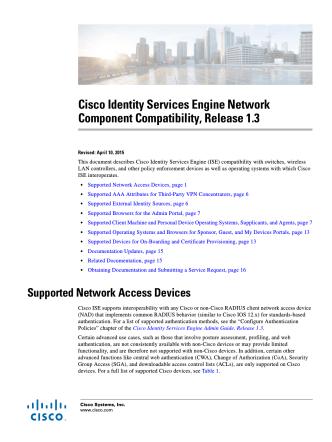 Cisco Identity Services Engine Network Component Compatibility