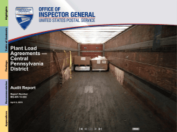 Plant Load Agreements — Central Pennsylvania District