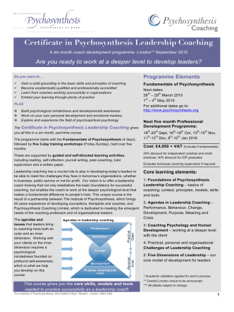 Certificate in Psychosynthesis Leadership Coaching