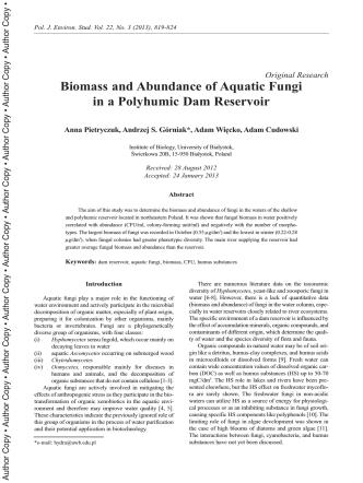 Biomass and Abundance of Aquatic Fungi in a ... - ResearchGate