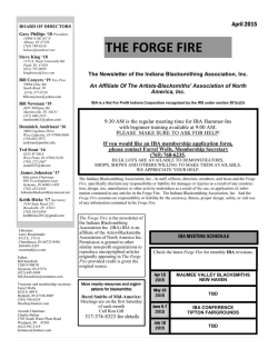 THE FORGE FIRE - Indiana Blacksmithing Association, Inc.