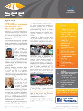 April 2015 - Optometrists Association Australia