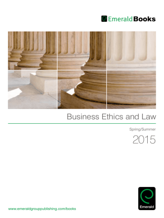 Business Ethics and Law - Emerald Group Publishing