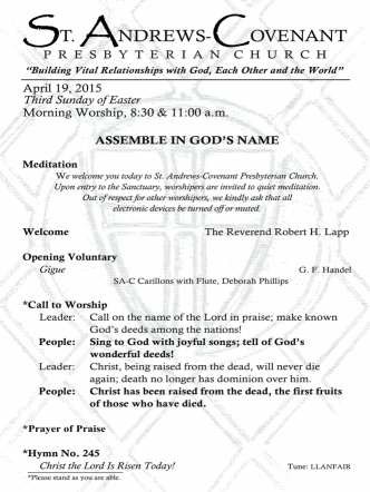 4-19-15 Traditional Worship Bulletin - St. Andrews