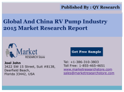 Global and China RV Pump Industry 2015 Market Research Report