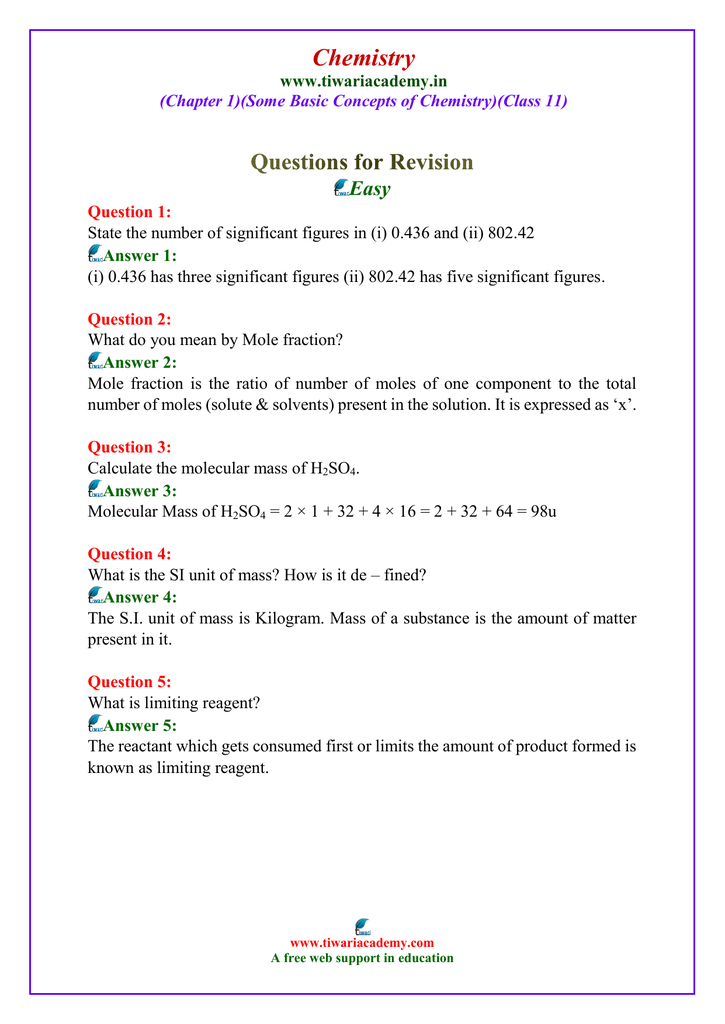 class 11 chemistry solved questions chapter 1