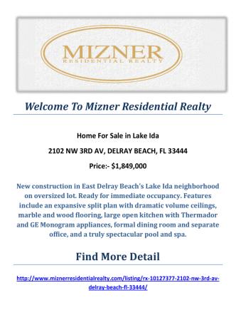 2102 NW 3RD AV, DELRAY BEACH, FL 33444 : Lake Ida Homes for Sale By Mizner Residential Realty