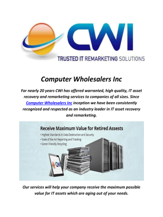 Computer Wholesalers Inc : It Asset Remarketing