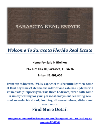 245 Bird Key Dr, Sarasota, FL 34236 : Bird Key Real Estate For Sale by Sarasota Florida Real Estate