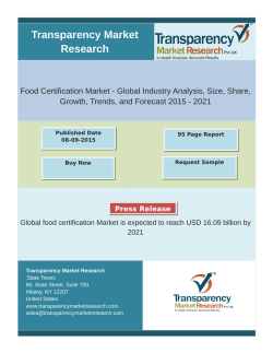 Food Certification Market - Global Industry Analysis, Size, Share, Growth, Trends, and Forecast 2015 - 2021