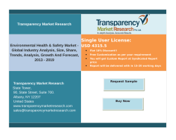Environmental Health & Safety Market - Global Industry Analysis,Growth And Forecast, 2013 – 2019.