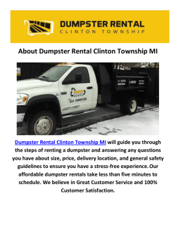 Dumpster Rental Clinton in Township MI