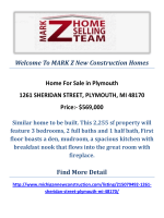 1261 SHERIDAN STREET, PLYMOUTH, MI 48170 : MARK Z New Construction Homes in Plymouth