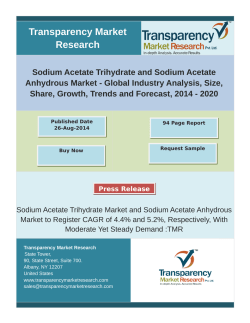 Sodium Acetate Trihydrate and Sodium Acetate Anhydrous Market - Global Industry Analysis, Size, Share, Growth, Trends