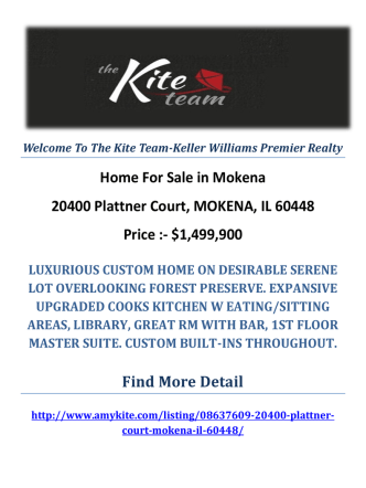 20400 Plattner Court, MOKENA, IL 60448 : Mokena Homes For Sale by The Kite Team-Keller Williams Premier Realty