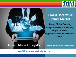 Decorative Paints Market: Global Industry Analysis and Opportunity Assessment 2015-2025