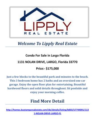 1131 NOLAN DRIVE, LARGO, Florida 33770 : Condos For Sale Largo Florida By Lipply Real Estate