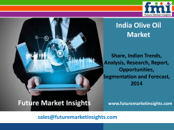 Olive Oil Market size and forecast, 2014-2020 by Future Market Insights