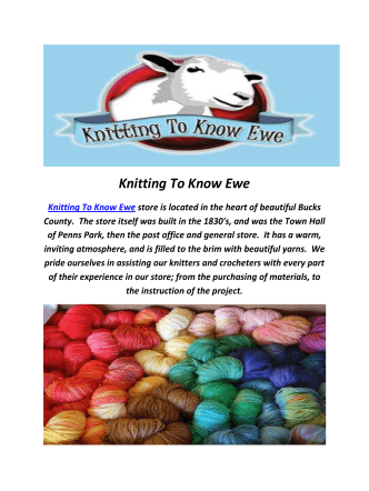 Be Sweet Yarns By Knitting To Know Ewe