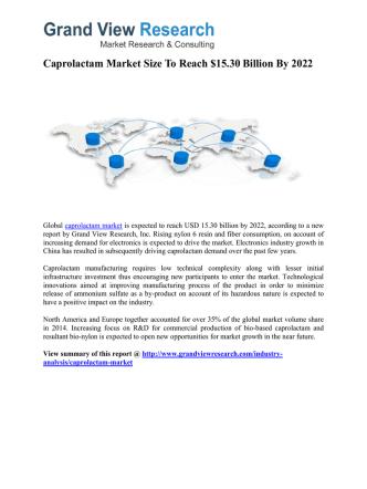 Caprolactam Market Forecast Report to 2022: Grand View Research, Inc.