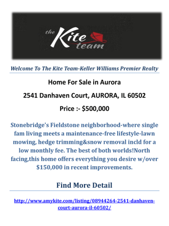 2541 Danhaven Court, AURORA, IL 60502 : Aurora Homes For Sale by The Kite Team-Keller Williams Premier Realty