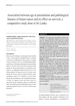 Association between age at presentation and pathological features of breast cancer and its effect on survival; a comparative study done in Sri Lanka