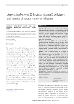 Association between 25-hydroxy vitamin D deficiency and severity of coronary artery involvement