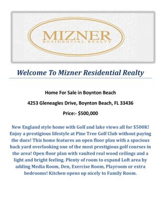 4253 Gleneagles Drive, Boynton Beach, FL 33436 : Boynton Beach Homes for Sale by Mizner Residential Realty