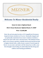4012 S Ocean Boulevard, Highland Beach, FL 33487 : Highland Beach Real Estate For Sale by Mizner Residential Realty